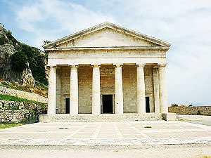 Church-Agios-Georgios-on-old-Corfu-fortres-built-in-ancient-greek-style