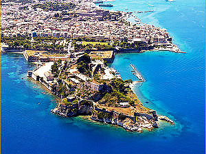 Old-fortress-in-Corfu,-Greece,-aerial-view
