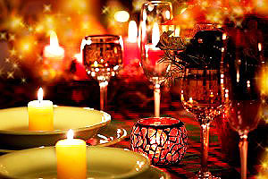 dinner with candles